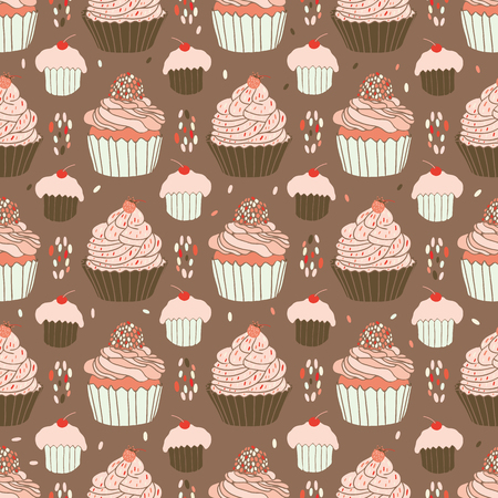 Baked Cupcakes Food Vector Pattern Seamless, Hand Drawn Illustration for Party Stationery, Cafe Menu, Bakery Packaging, Gift Wrap and Cookery Blog Backgrounds, Cherry, Strawberry Icing