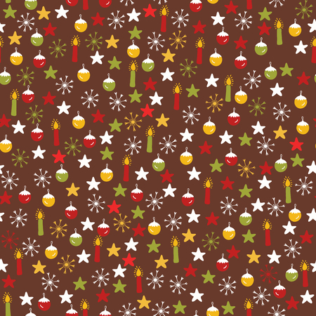 Traditional Winter Christmas Doodles , Hand Drawn Seamless Vector Pattern, Baubles, Candles, Snowflake Stars Illustration for Fashion Prints, Stationery, Xmas Decor, Gift Wrap Seasonal Backgrounds Illustration