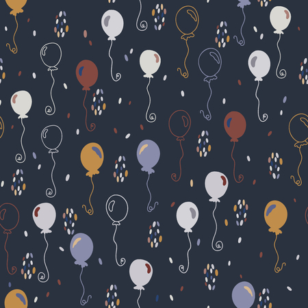 Elegant Party Balloons Vector Pattern Seamless, Hand Drawn Illustration for Trendy Stationery, Party Invitations, Anniversary Celebrations, Fashion Prints Event Posters, Dark Flying with Confetti Vetores