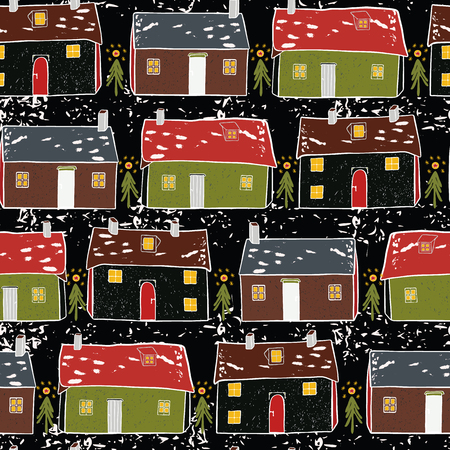 Folk Art Christmas Village Vector Pattern Repeat Seamless, Hand Drawn Snow Cabin Yuletide Illustration for Festive Home Decor, Stationery, Xmas Decoration, New Home Gift Wrap, Seasonal Blog Background Illustration
