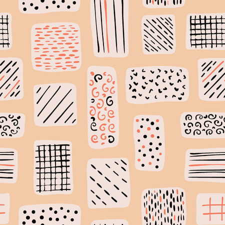 Abstract Geometric Doodle Shapes, Seamless Vector Pattern Background, Hand Drawn Scribble Illustration for trendy Home Decor, Birthday Invitations, Gift Wrap, Kids Fashion Prints Pretty Stationery
