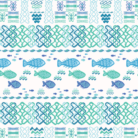 Blue Fish Doodle Collage, Seamless Animal Vector Pattern Background, Hand Drawn Illustration for Summer Scrapbooking, Gift Wrap, Kids Fashion Prints, Beach Apparel Cute Stationery, White Turquoise Illustration