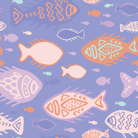 Pink Detailed Fish Doodles, Seamless Animal Vector Pattern Background, Hand Drawn Illustration for Summer Scrapbooking, Gift Wrap, Kids Fashion, Beach Apparel Cute Stationery, Lilac Purple Peach Orange  イラスト・ベクター素材