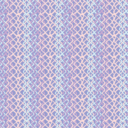 Lilac Abstract Fish Net Loop Pattern, Seamless Vector Background, Hand Drawn Scribble Illustration of Netting for Home Decor, Trendy Gift Wrap, Summer Pretty Stationery, Lilac Purple Blue