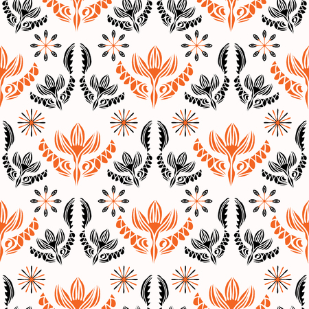 Bohemian Folkart Floral seamless pattern vector illustration