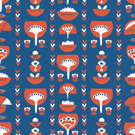 Blue Red Retro Floral,Vector Pattern Seamless, Hand Drawn Stylized Folk Art Flower Illustration for Trendy Fashion Prints, Wallpaper, Stationery, Vintage Home Decor, Gift Wrap, Textile Backgrounds
