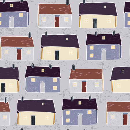 Houses Village Vector Pattern Repeat Seamless Background, Hand Drawn Neighborhood Cottages Illustration for Modern Home Decor, Trendy Stationery, Decoration, New Home Gift Wrap, Community Architecture 写真素材 - 112173840