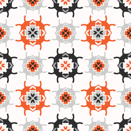 Abstract Geometric Folk Art Grid Vector Pattern Seamless Background, Hand Drawn Ornament Illustration for Trendy Home Decor, Vintage Fashion Prints, Wallpaper, Retro Kitchen Tiles, Grey Orange White