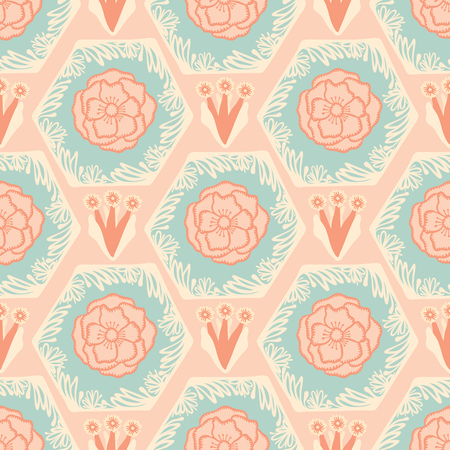 Soft Pastel Vintage Floral, Seamless Hexagonal Vector Pattern, Hand Drawn Retro Flower Illustration for Fashion Prints, Wallpaper, Stationery, Home Decor, Gift Wrap Pretty Backgrounds Illustration
