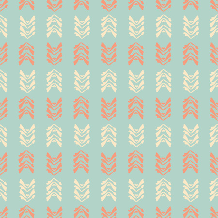 Muted Vintage Leaf Stripes, Seamless Vector Pattern, Hand Drawn Leaves Illustration for Fashion Prints, Wallpaper, Stationery, Home Decor, Gift Wrap Pretty Backgrounds in Teal Blue, Orange, Cream Illustration