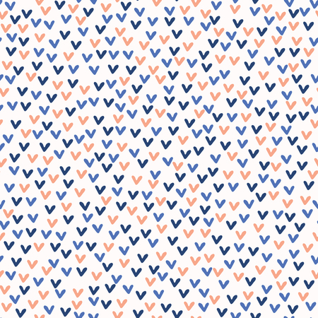 Ditsy Little Doodle Love Hearts Vector Pattern