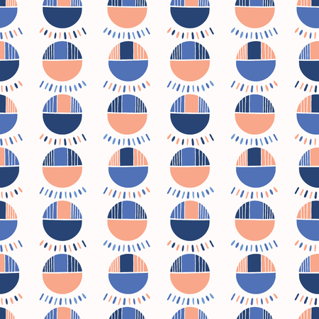 Abstract Geometric Polka Dot Vector Pattern Seamless Background, Hand Drawn Lines Circles Illustration for Trendy Home Decor, Summer Fashion Prints, Wallpaper, Modern Gift Wrapping, Fresh Blue Orange