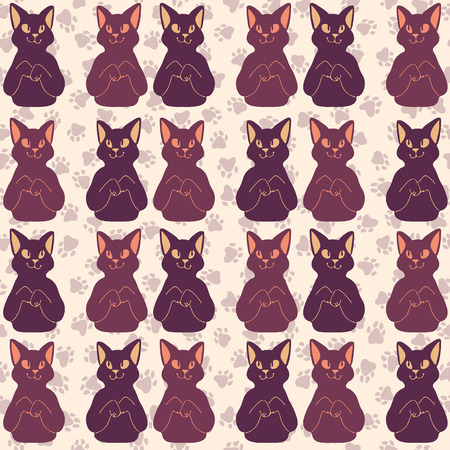 Purple and Pink Cute Cat Faces Vector Pattern