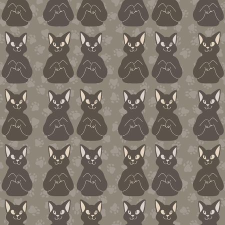Brown and Gray Cute Stretching Cats Vector Pattern