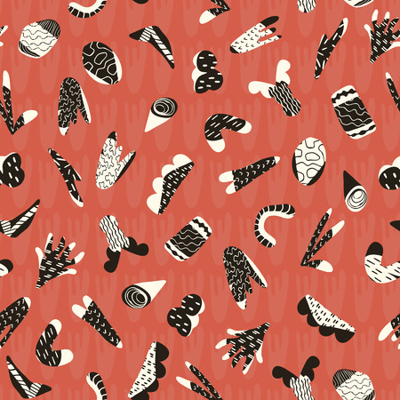 Abstract Cut Out Shapes, Vector Pattern Seamless Background, Trendy Hand Drawn Doodle Collage, Graphic Illustration for Modern Home Decor, Retro Fashion Prints, Bold Wallpaper, Vintage Red Black White Archivio Fotografico - 110286173