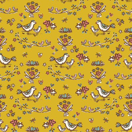 Garden Flower Birds on Branch Vector Pattern, Seamless Repeat Background for Seasonal Fashion Prints, Journaling, Wallpaper, Nature Scrapbook , Garden Gifts Wrap, Trendy Mustard Yellow Vintage Colors