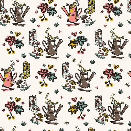 Gardening Flowers Watering Can Vector Pattern, Seamless Repeat Background for Seasonal Fashion Prints, Journaling, Wallpaper, Nature Scrapbook , Gardeners Gifts Wrap, Trendy Vintage Collection Colors