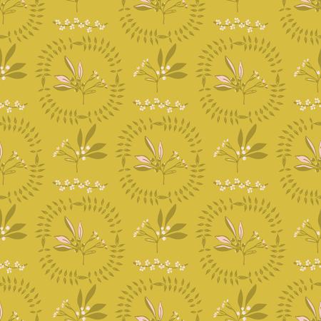 Motif de vecteur de branche de baie de cercle de couronne de feuilles, fond de répétition sans couture pour des impressions de mode stylisées, papier peint à contraste élevé, album de nature, emballage cadeau de jardin élégant, couleurs vintage vertes à la mode