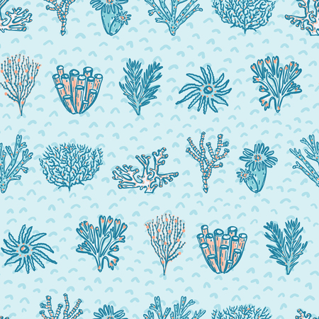 Blue Red Coral Geometric, Seamless Ocean Vector Pattern Background, Drawn Illustration for Summer Scrapbooking, Gift Wrap, Kids Fashion Prints, Yacht Fashion Beach Apparel, Aqua Nautical Stationery