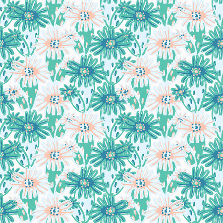 Red Anemone Geometric, Seamless Ocean Vector Pattern Background, Drawn Illustration for Summer Scrapbooking, Gift Wrap, Sealife Plant Prints, Yacht Fashion Beach Apparel, Blue Aqua Nautical Stationery