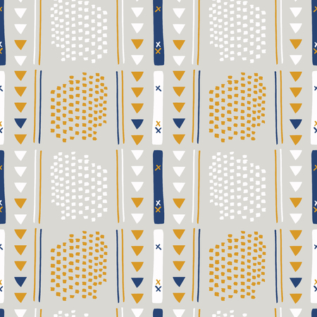 Gray and Brown Memphis Style Geometric Abstract Seamless Vector Pattern