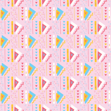 Girly Pink Triangles Memphis Style Geometric Abstract Seamless Vector Pattern