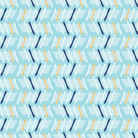 Nahtloses Vektormuster mit geometrischen Streifen im Memphis-Stil, handgezeichnete stilisierte grafische Illustration für trendigen Modedruck, nautisches blaues Briefpapier, grafisches Dekor, Geschenkverpackung, Blog-Hintergrund, Tapete
