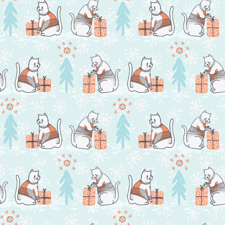 Christmas Cat in Embroidery Sweater Seamless Vector Pattern Illustration