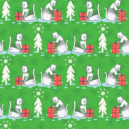 White Christmas Cat in Embroidery Sweater Seamless Vector Pattern