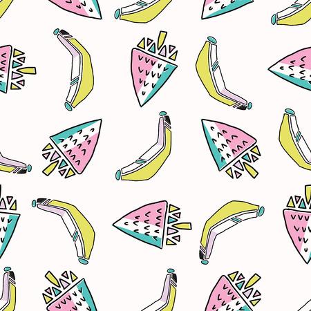 Fun Memphis Strawberry Banana Pattern, Seamless Vector Background Illustration, Drawn Geometric Healthy Food Milkshake Retro Fashion Print, Kids Cooking Party Decor, Kitchen Ware, Food Blog Wallpaper