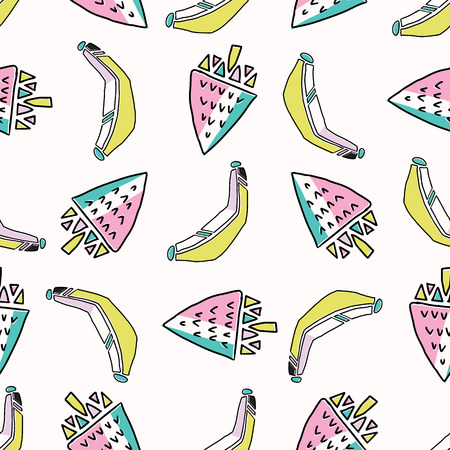 Fun Memphis Strawberry Banana Pattern, Seamless Vector Background Illustration, Drawn Geometric Healthy Food Milkshake Retro Fashion Print, Kids Cooking Party Decor, Kitchen Ware, Food Blog Wallpaper