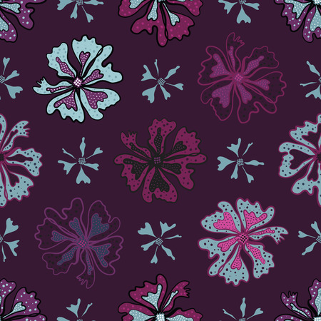 Purple Graphic Large Scale Flower Blooms Pattern, Seamless Vector Repeat Background for Trendy Fashion Prints, Retro 60s 70s Petal Power Wrapping Textiles, Floral Fabric, Bold Stylized Tone on Tone Stock Illustratie