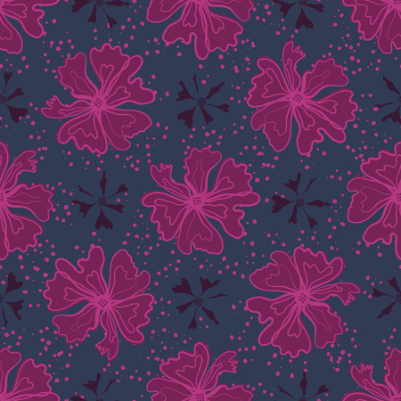Purple Graphic Large Scale Flower Blooms Pattern, Seamless Vector Repeat Background for Trendy Fashion Prints, Retro Petal Power Wrapping,Textiles, Dotty Floral Fabric, Bold Stylized Tone on Tone