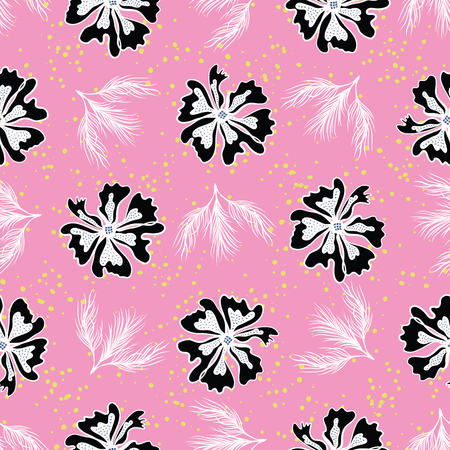 Black White Graphic Large Scale Flower Blooms Pattern, Seamless Vector Repeat Background for Trendy Fashion Prints, Retro Petal Power Wrap, Kawaii Textiles, Dotty Floral Fabric, Bold Pink Stylized