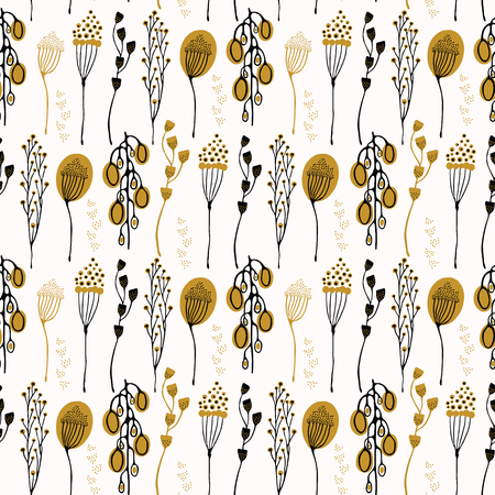 Leaf Seedpod Branch Vector Pattern, Drawn Seamless Background for Fall Fashion Prints, Retro Wallpaper, Nature Scrapbook, Vintage Garden Gift Wrap, Trendy Seed Packaging, Natural Foraging Blog Texture