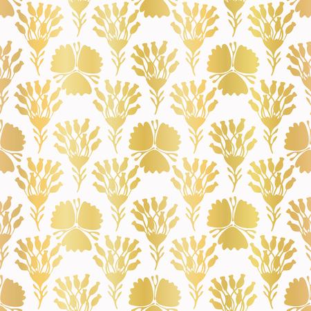 Luxury Gold Foil Flower Damask, Seamless Pattern, Hand Drawn Metallic Stock Photo
