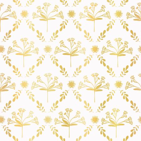Luxe Gold Foil Floral Lattice Seamless Vector Pattern, Hand Drawn Damask Flower Illustration for Trendy Invitation, Elegant Home Decor, Festive Backdrops, Metallic Wedding Stationery, Luxury Gift Wrap