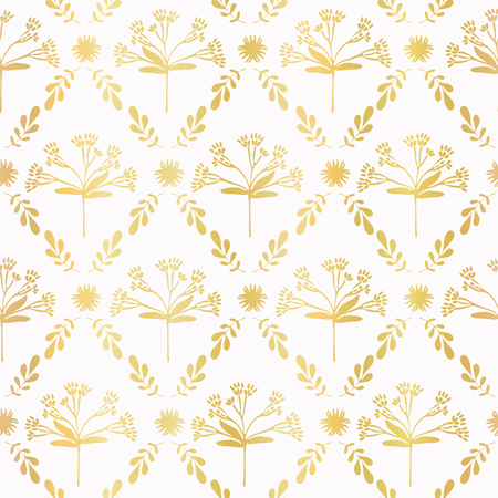 Luxe Gold Foil Floral Lattice Seamless Vector Pattern, Hand Drawn Damask
