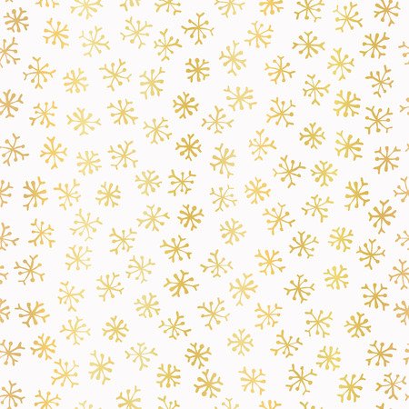 Luxe Golden Foil Snowflake Seamless Pattern Background, Elegant Hand Drawn Gold Snow Texture Illustration for Festive Fabric, Trendy Gift Wrap, Christmas Backdrops, Winter Wedding Party Invitations