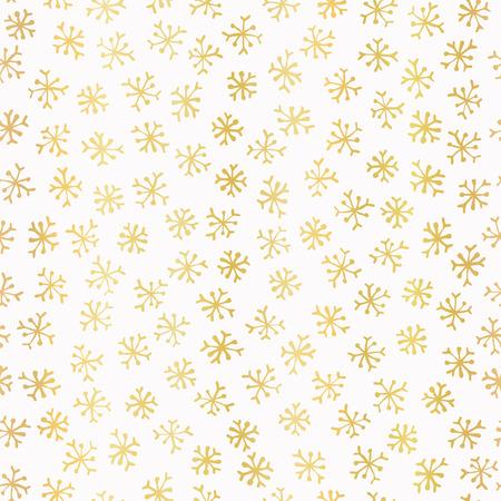 Luxe Golden Foil Snowflake Seamless Pattern Background, Elegant Hand Drawn