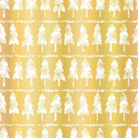 Luxe Rose Gold Christmas Tree Pattern, Seamless Vector Background, Drawn Shiny Golden Illustration Elegant Party Invitations, Winter Wedding Stationery, Festive Gift Wrap, Trendy Metallic Foil Texture