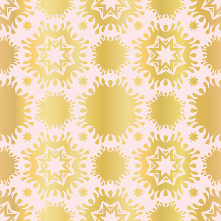 Luxe Rose Gold Star Damask Pattern Seamless   Repeat Drawn