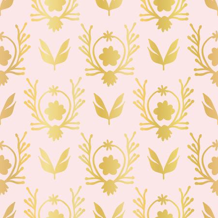 Luxe Rose Gold Foil Floral Lattice Seamless Vector Pattern, Drawn Damask Flower Illustration Trendy Invitation, Elegant Packaging, Festive Backdrop, Metallic Wedding Stationery, Luxury Pink Gift Wrap