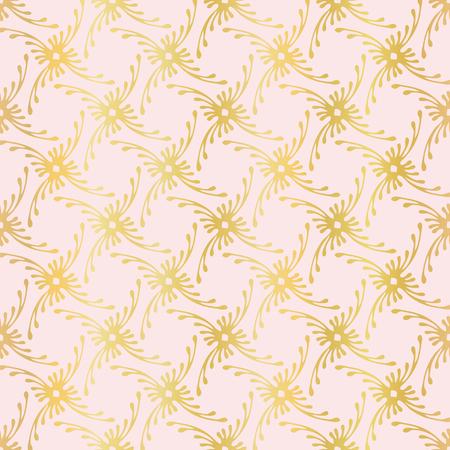 Luxury Rose Gold Ornamental Grid Pattern, Seamless , Drawn Vetores