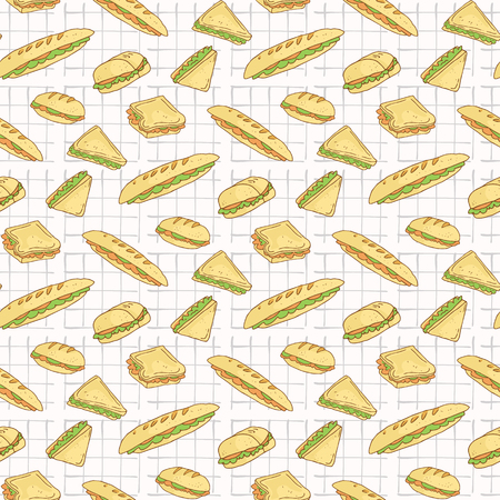 Sandwiches on Tablecloth Seamless Vector Pattern, Hand Drawn Food Illustration of Healthy Filled Bread Slices for Cafe Restaurant Menu Backgrounds, Kitchen Decor, Nutrition Posters, Breakfast Packging