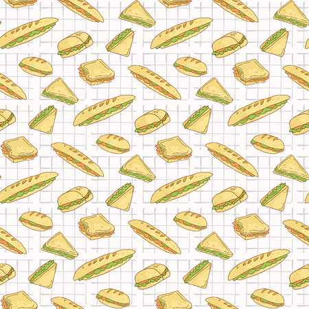 Sandwiches on Tablecloth Seamless Pattern, Hand Drawn Food Stock Photo