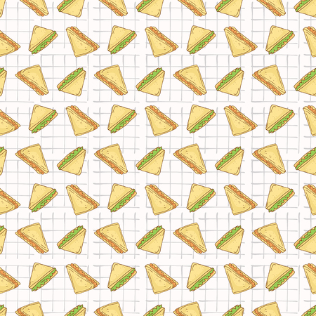 Sandwiches Triangles Seamless Vector Pattern, Hand Drawn Food Illustration of Healthy Filled Bread Slices for Cafe Restaurant Menu Backgrounds, Kitchen Decor, Nutrition Posters, Breakfast Packging