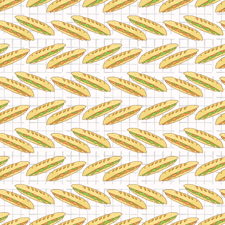 Baguette Set Stripes Seamless Vector Pattern, Hand Drawn Food Illustration of Healthy Filled Bread Slices for Cafe Restaurant Menu Backgrounds, Kitchen Decor, Nutrition Posters, Breakfast Packging