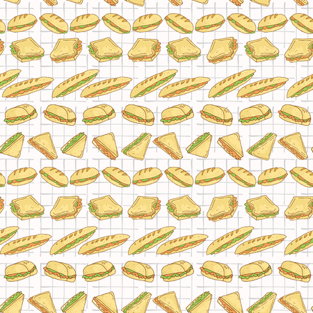 Sandwiches Set Stripes Seamless Vector Pattern, Hand Drawn Food Illustration of Healthy Filled Bread Slices for Cafe Restaurant Menu Backgrounds, Kitchen Decor, Nutrition Posters, Breakfast Packging Illustration