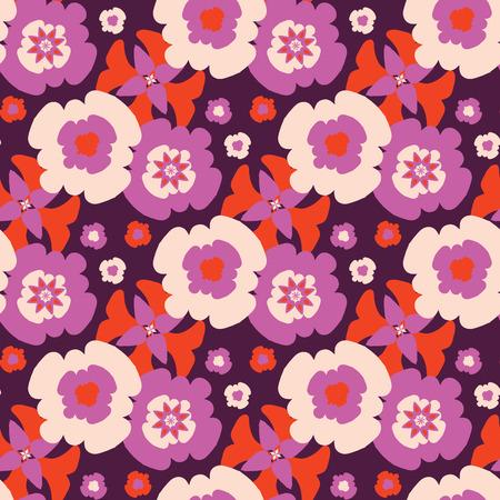 Retro Bohemian Daisy Floral Pattern Hand Drawn, Seamless Bloom Иллюстрация